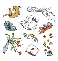 set of flying home related objects pets and food vector image vector image