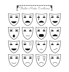 Set of theatrical masks emoticons Different vector image