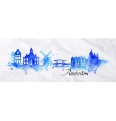 Silhouette watercolor Amsterdam vector image