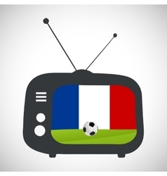 Soccer football retro television with france flag vector image