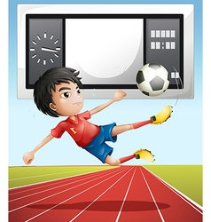 Soccer player in the field vector image vector image
