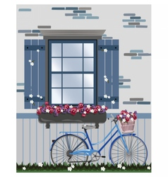 Vintage bicycle and flowers under the window vector