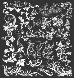 VINTAGE FLORAL DECORATIVE DESIGN ELEMENTS vector image vector image