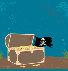 Vitage poster with treasure cheast and pirate flag vector
