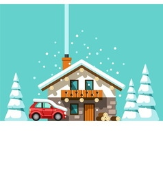 Winter holidays vacation house in forest vector