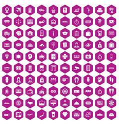 100 paying money icons hexagon violet vector