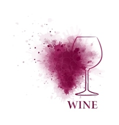 Red wine glass with grape vector