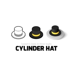 Cylinder hat icon in different style vector