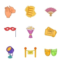 Theatrical performance icons set cartoon style vector