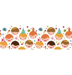 Kids at a birthday party horizontal seamless vector image