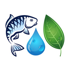 Fish water drop and green leaf vector