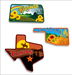 Retro of Kansas Oklahoma Texas vector image