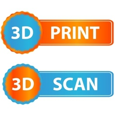 3d print and scan icons vector