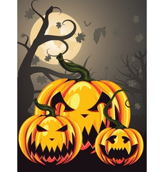 Scary pumpkins in forest2 vector