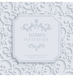 3d Vintage Invitation Card with Floral vector image vector image