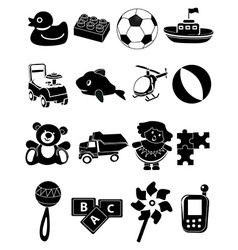 Baby toys icons set vector