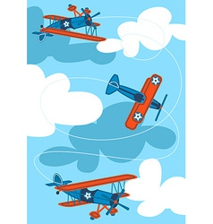 Vintage air planes flying in the sky vector