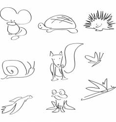 Wildlife line illustrations vector
