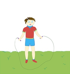 Boy with a rope fun jumping on the green lawn vector