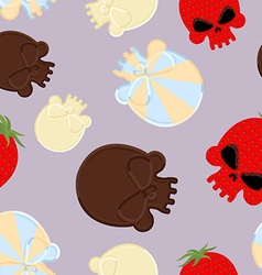 Sweets for halloween seamless pattern skull made vector