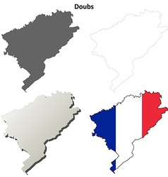 Doubs franche-comte outline map set vector