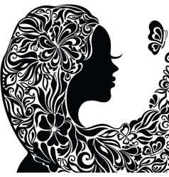 Silhouette of a young woman with flowers in hair vector