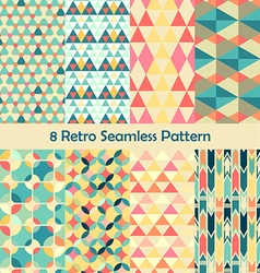 8 retro different seamless patterns set vector