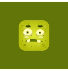 Giggly green monster emoji icon vector