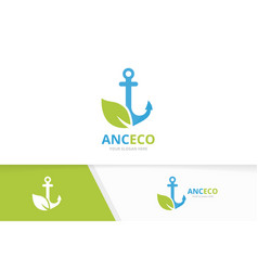 Anchor and leaf logo combination marine vector