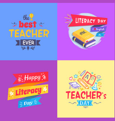 best teacher ever poster set vector image