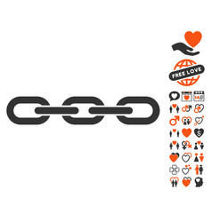 chain icon with love bonus vector image