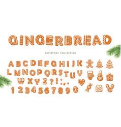 Christmas cartoon big set gingerbread alphabet vector
