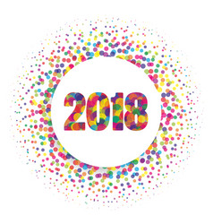 circle banner with year 2018 label happy new year vector image