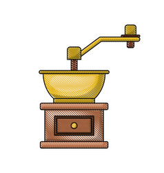 Coffee grinding with crank in front view colored vector
