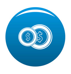 coin icon blue vector image vector image