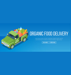 delivery organic food truck vector image