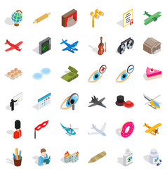 Encroachment icons set isometric style vector