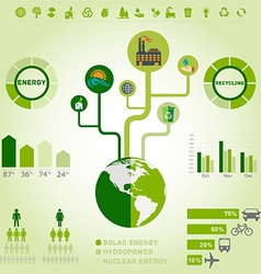 Green ecology recycling info graphics collection vector