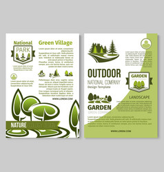 Green nature poster of parks landscape vector
