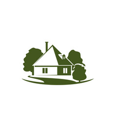 green trees and house garden icon vector image vector image