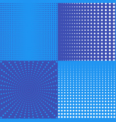 halftone backgrounds with dots in blue vector image