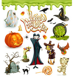 Halloween 3d icons Pumpkin ghost spider witch vector image