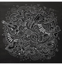 Hand-drawn chalkboard doodles musical vector
