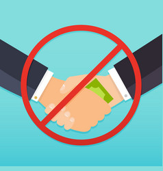Handshake with money bills and red prohibition vector