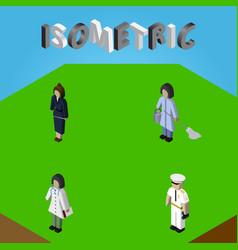 isometric human set of doctor housemaid vector image vector image