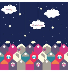Night christmas city of birds vector