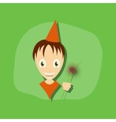 paper sticker on stylish background child sparkler vector image