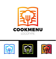recipe or cooking book logo template design menu vector image