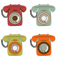 retro phone items set on white vector image