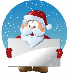 santa claus holding blank sign vector image